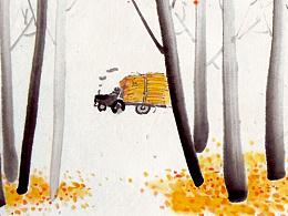 一套水墨风格的台历设计·春夏秋冬·水墨四季