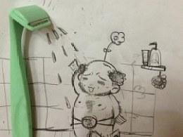 可爱卡通手绘插画  洗澡巧克力插画 闲作 儿童手绘 黑白稿件