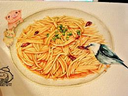 金鱼手绘美食——酸辣土豆丝