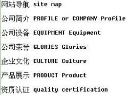 企业网站常用中英文对照表