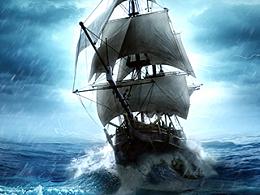 PS合成百慕大谜之大海创意海报设计图片