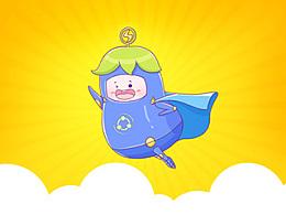 茄子快传吉祥物 -- 快乐蓝闪(深色版)