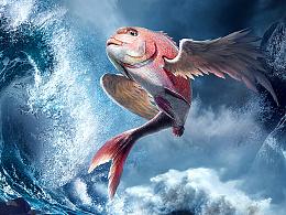 【教程捌】知巧社之从懵逼到入门创意PS合成山海经之赢鱼海报设计电商天猫淘宝banner图