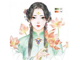 古风女子图文手绘插画教程(彩铅画教程)