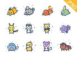 [大渔学院学生作品]96个MBE风格Pokémon小精灵形象(附带PSD文件)