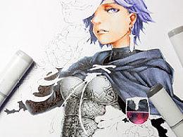 《魔导暗杀者》-马克笔花纹胸甲画法