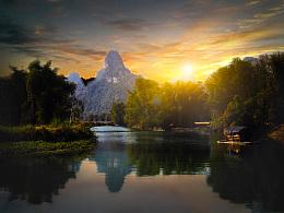 Photoshop如何给河景图片加上唯美的霞光
