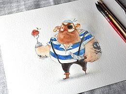 水彩小教程 | 胖胖的蠢萌海盗步骤图