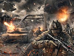 一副现代战争类海报创作过程