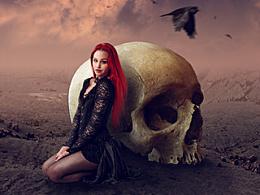 【教程】骷髅女孩PS合成暗色调创意海报图片