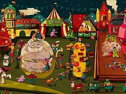 <站酷首届圆梦团圣诞特辑>【圣诞畅想】之 【funfun&Debbie插画系列•圣诞老人の超級工厂】