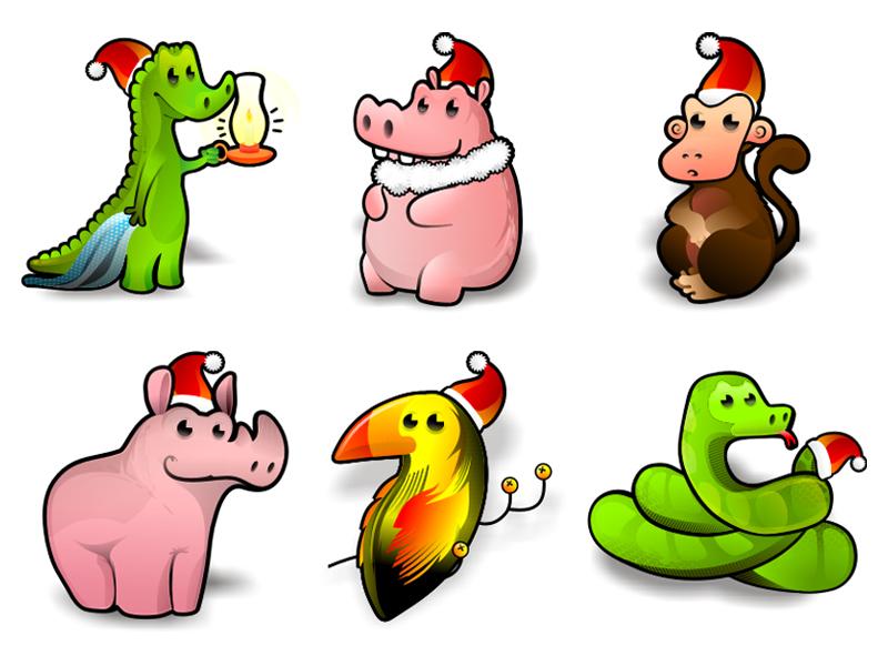 可爱圣诞节卡通动物png图标-卡通/游戏-图标