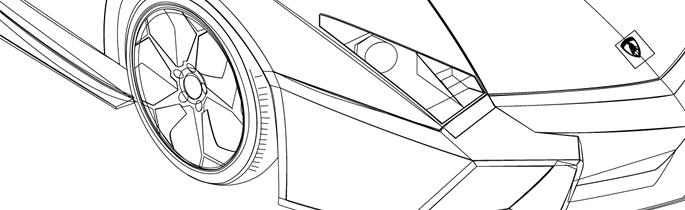 兰博基尼平面手绘图