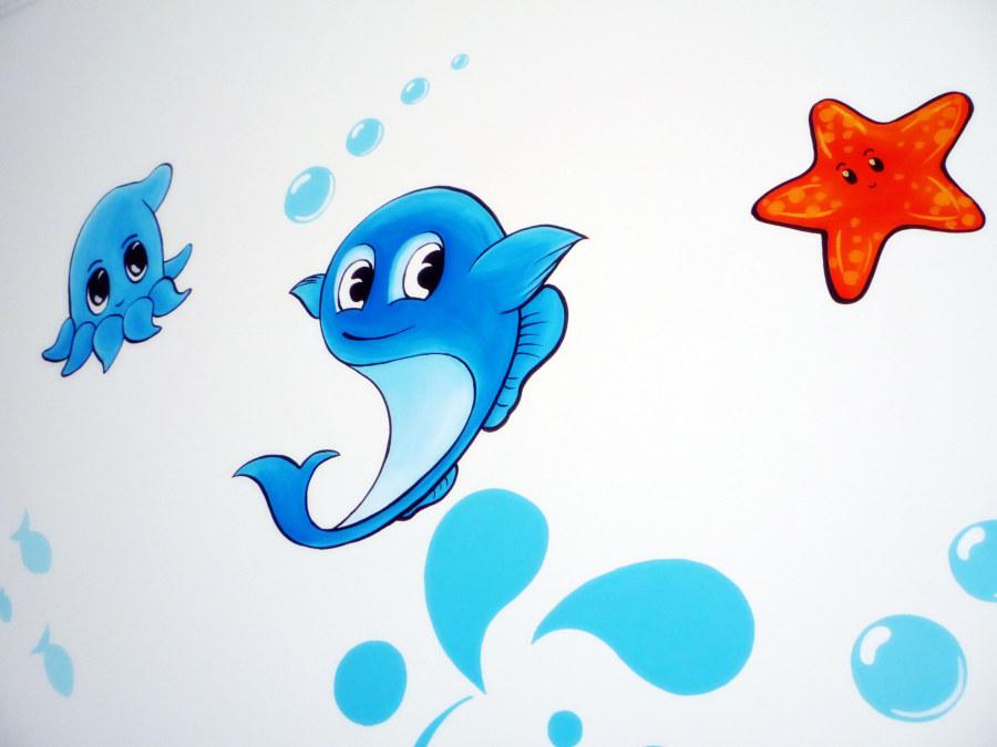 手绘墙壁画之小小海底世界
