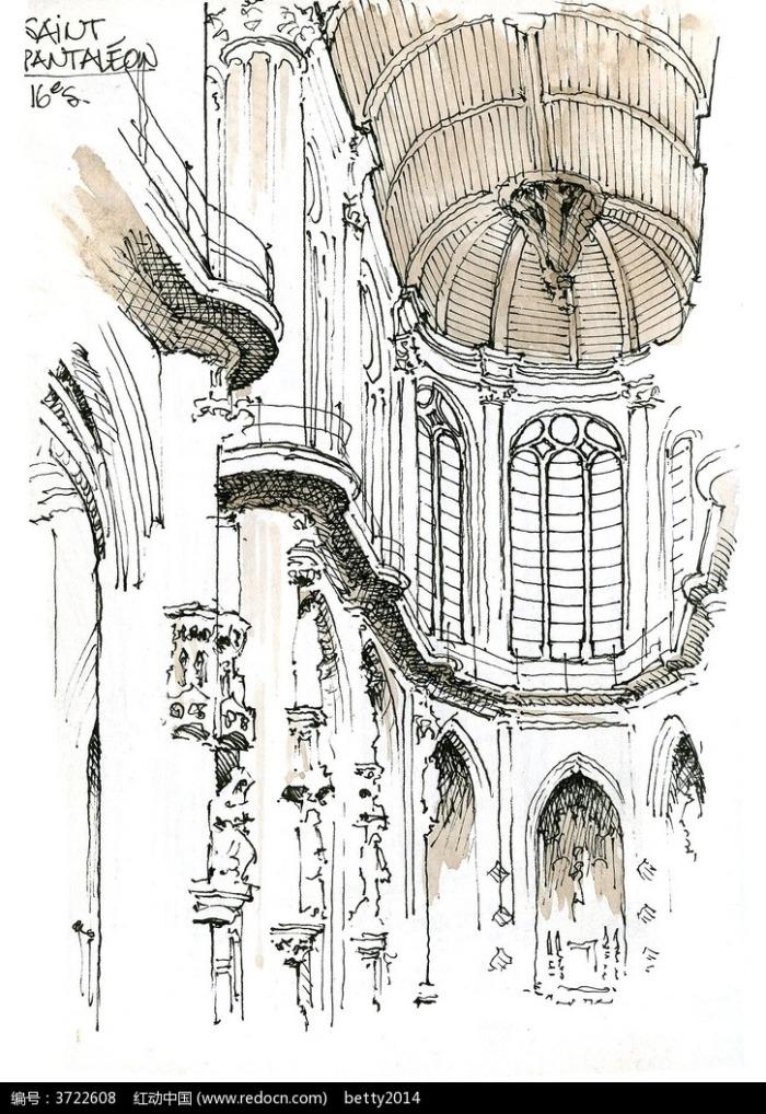 城堡室内手绘图片