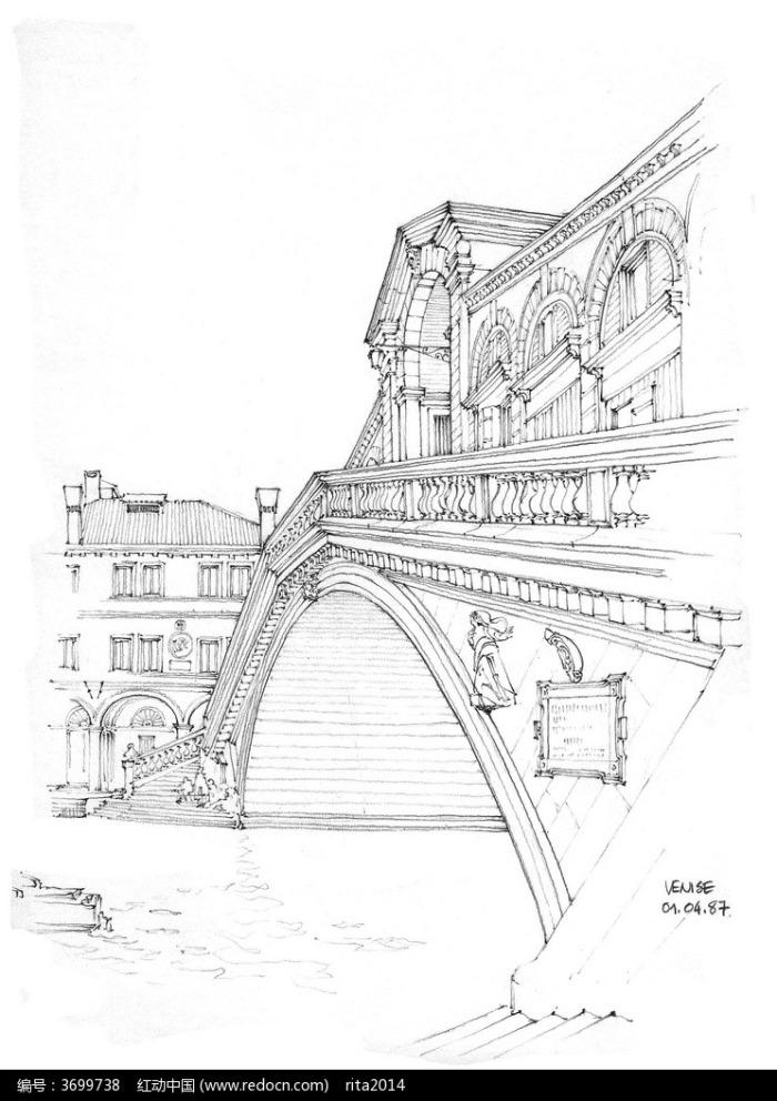 欧式桥梁建筑线描稿图片