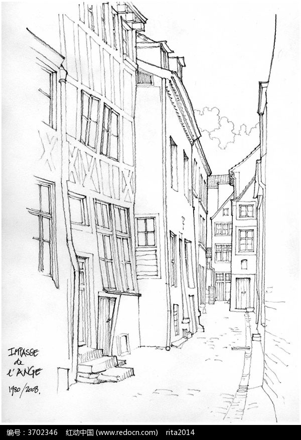 欧式建筑街景手绘素描画图片