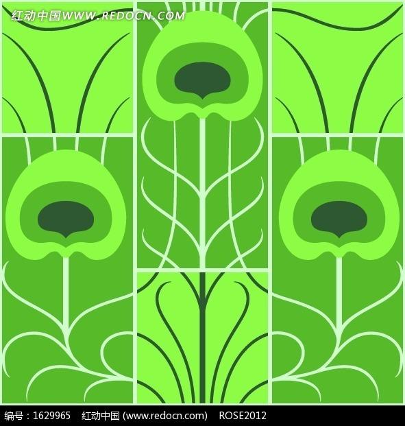 长方形分割绿色孔雀翎图案图片