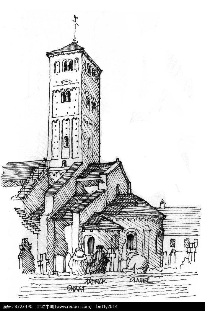欧式教堂建筑手绘线描图图片图片