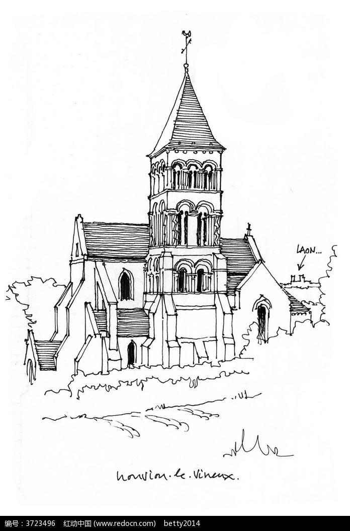 欧式风格建筑手绘线描图图片