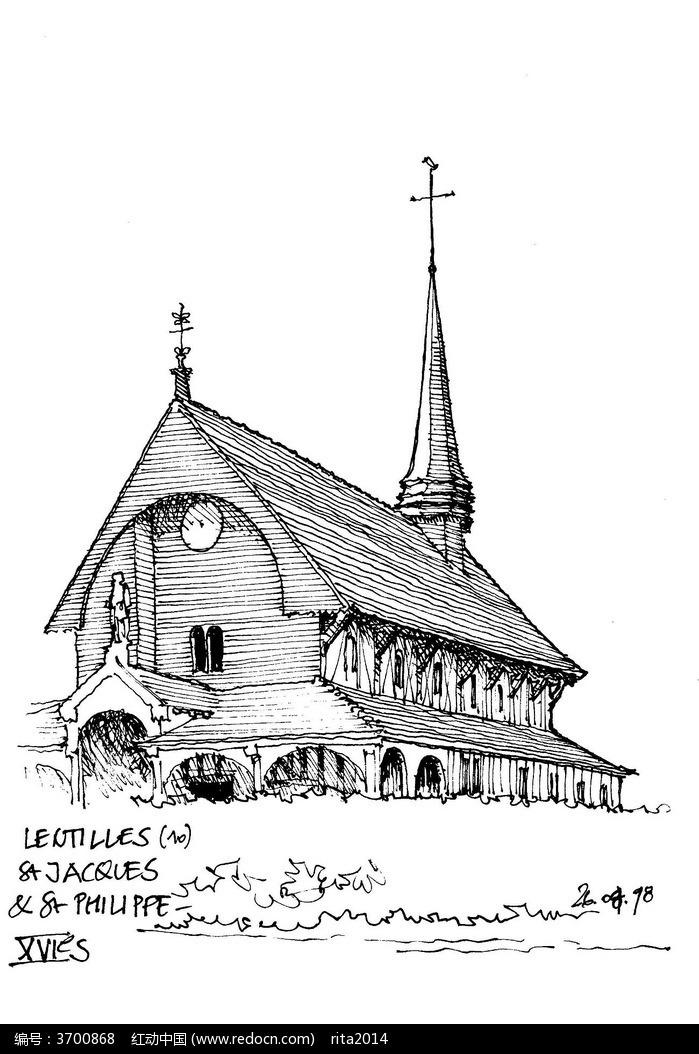 国外乡村教堂手绘图图片