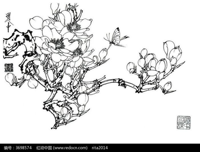 梅花蝴蝶手绘线稿图片