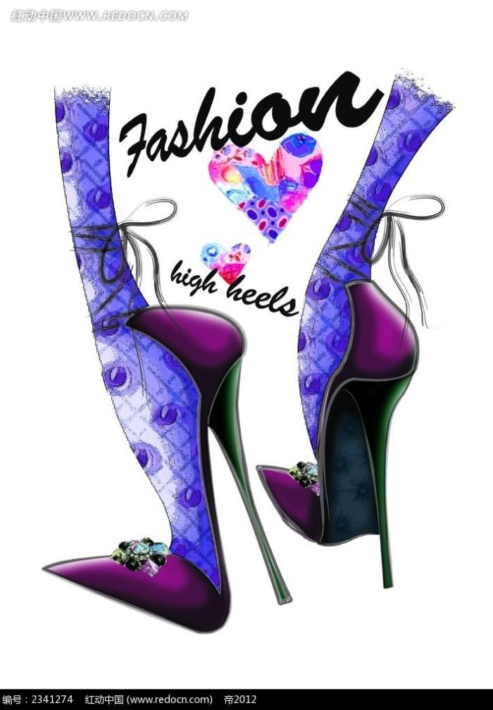 手绘水彩高跟鞋时尚人物插画