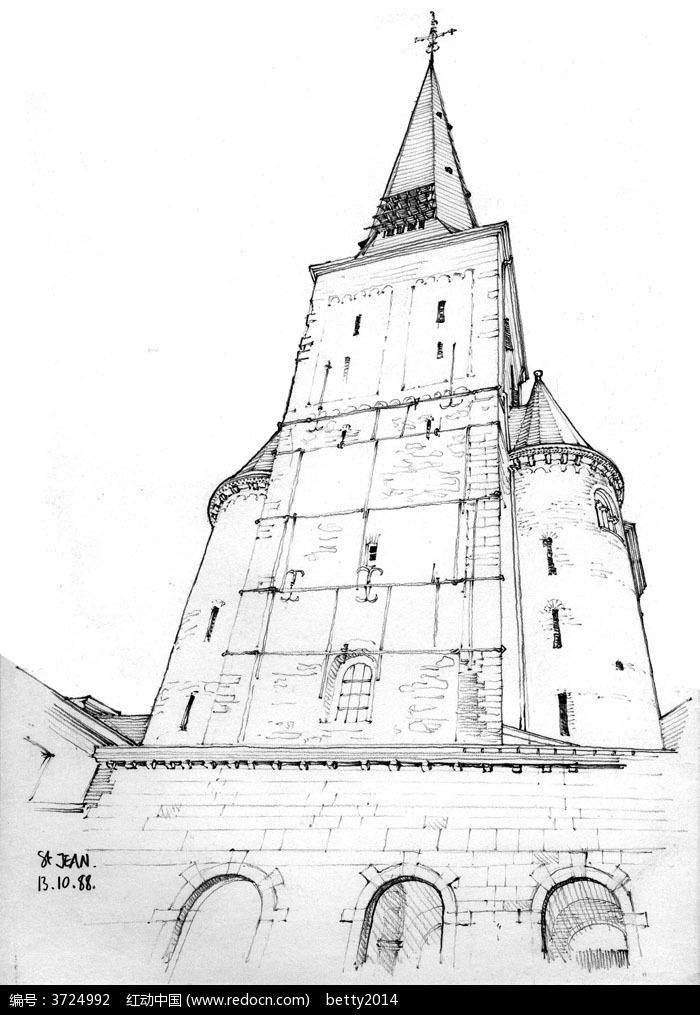 手绘欧式尖顶建筑结构钢笔画图片