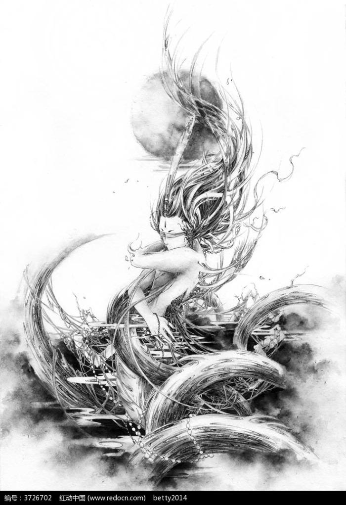 《风入松》-婉若游龙美女黑白素描画图片