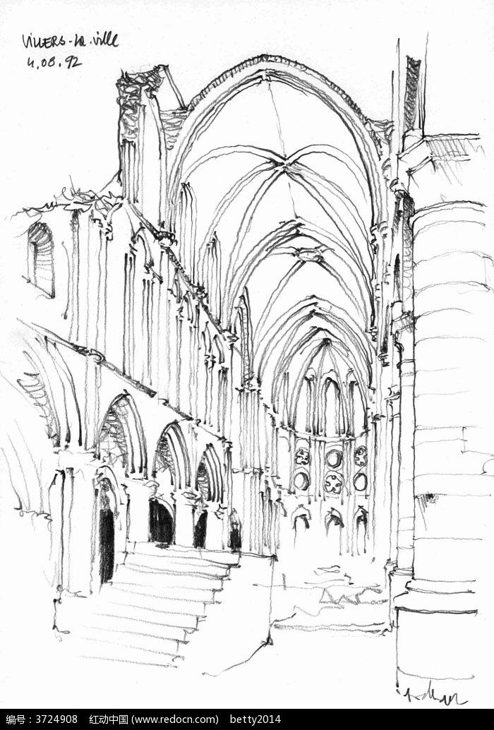 手绘欧式建筑内部钢笔线描画图片