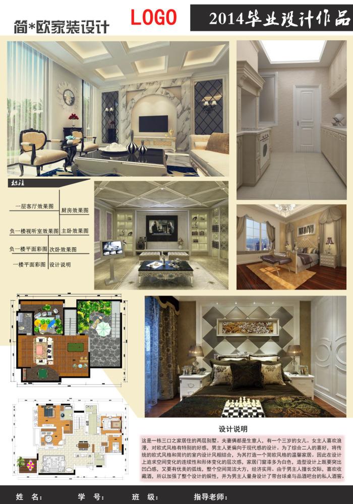 室内设计展板模板; _设计分享