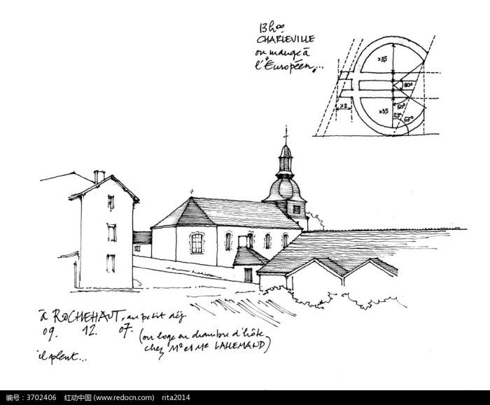 乡村建筑手绘图图片