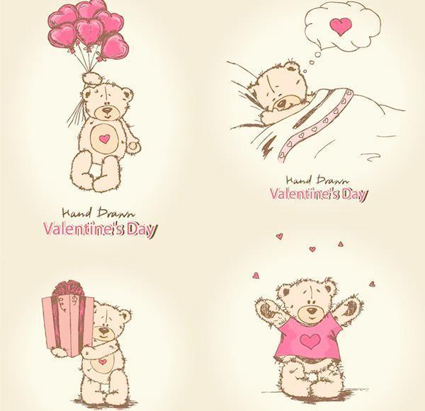 可爱小熊手绘图矢量图