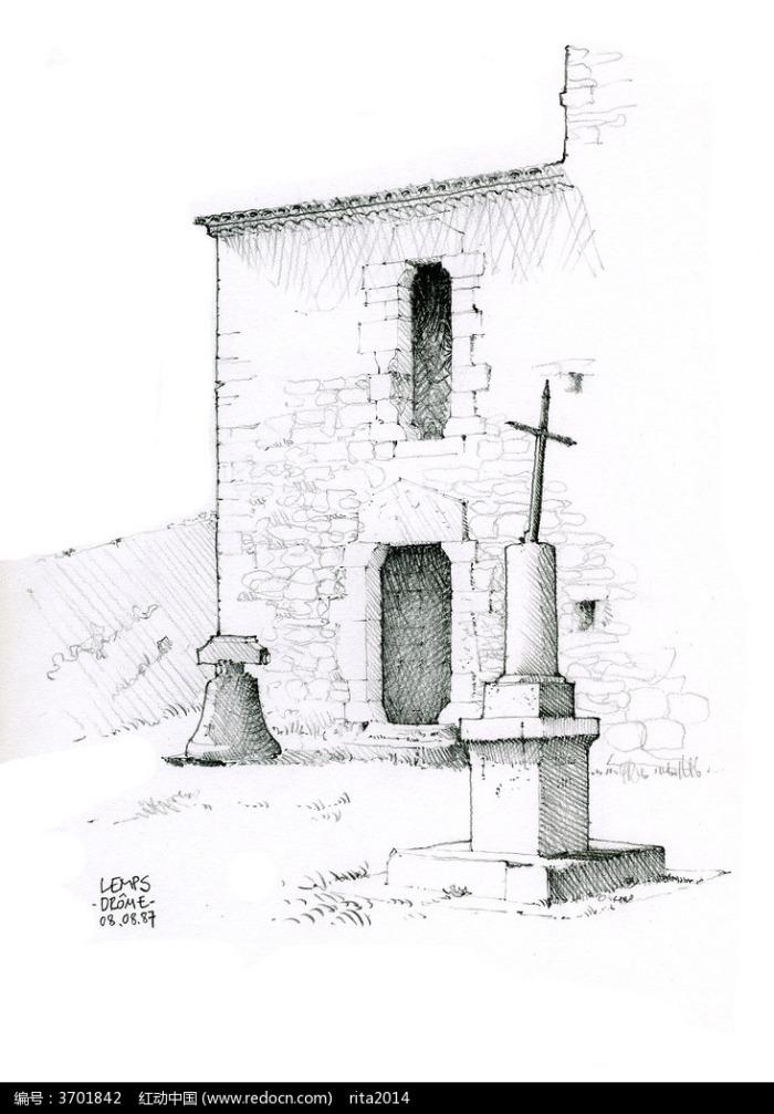 古建筑手绘素描画图片