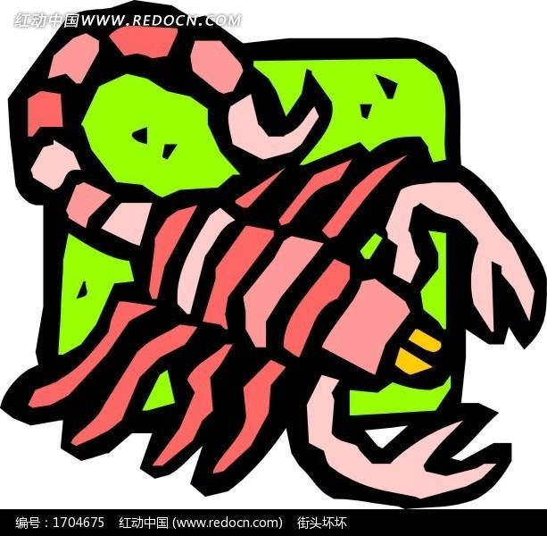 手绘蝎子图案矢量素材