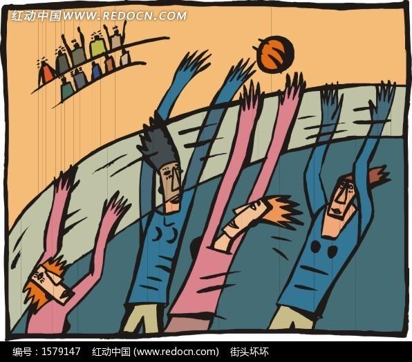 手绘打篮球插画