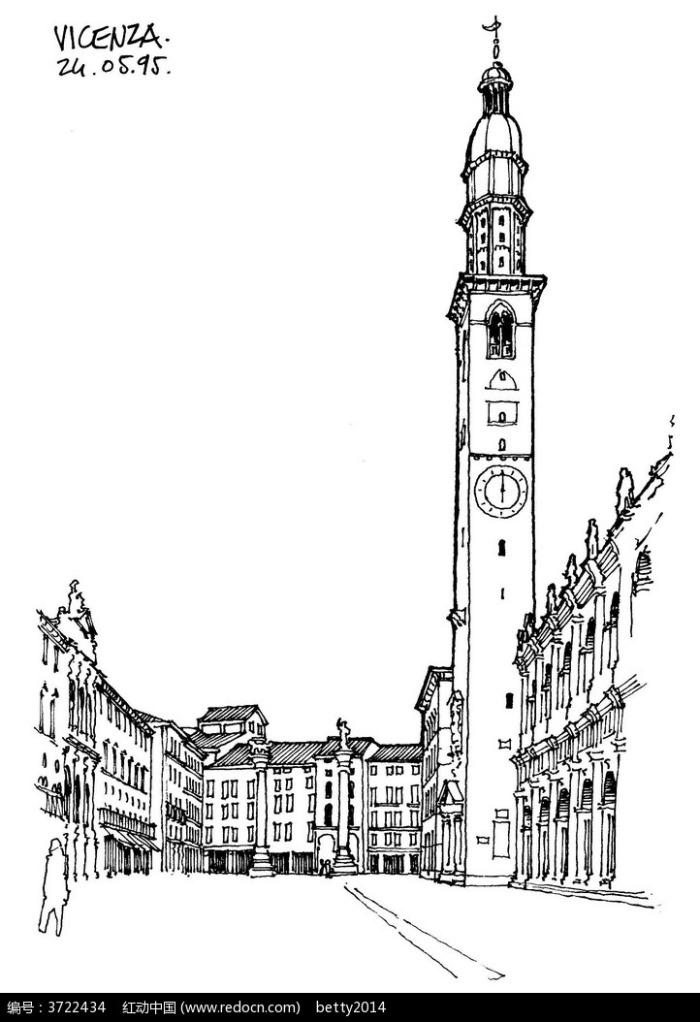 欧式钟楼建筑街景手绘线描图图片