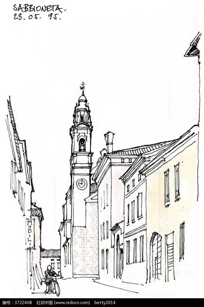 欧式钟楼建筑街道手绘线描图图片