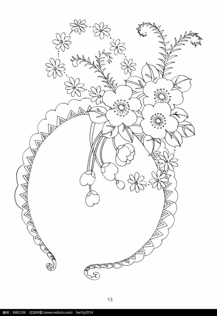 花朵藤蔓刺绣图案素材图片