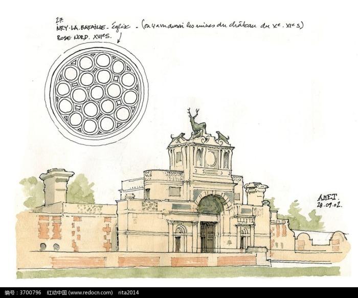 彩色欧式建筑手绘图图片