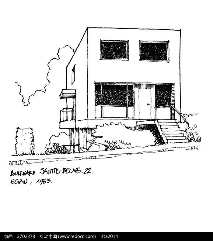 带楼梯的建筑手绘线描画图片