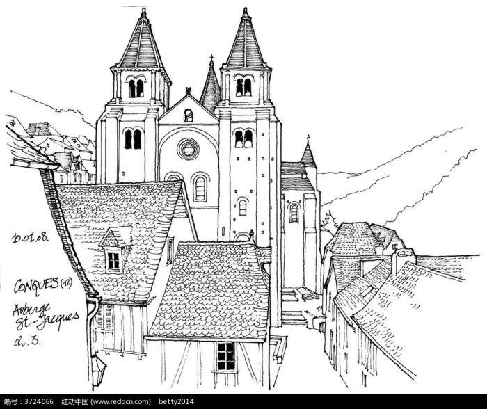 欧式钟楼建筑钢笔手绘线描图图片