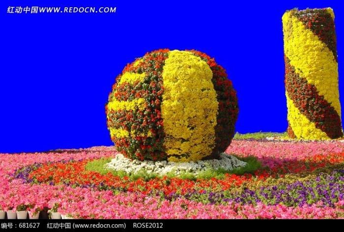 圆形和柱形花圃psd分层素材图片