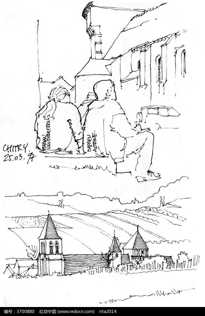 欧式原野风光手绘图图片