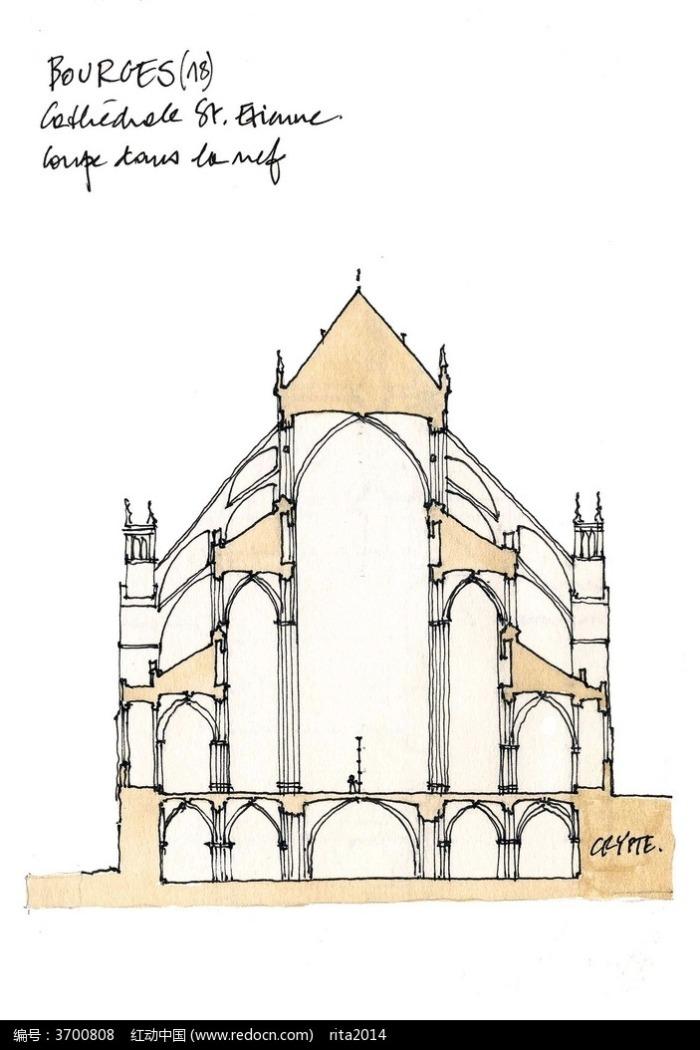 欧式建筑外立面手绘线描画图片