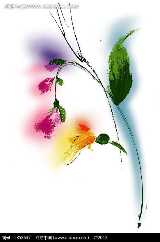 抽象铃兰花水彩手绘配图