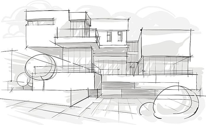 手绘房屋建筑 -搜素材