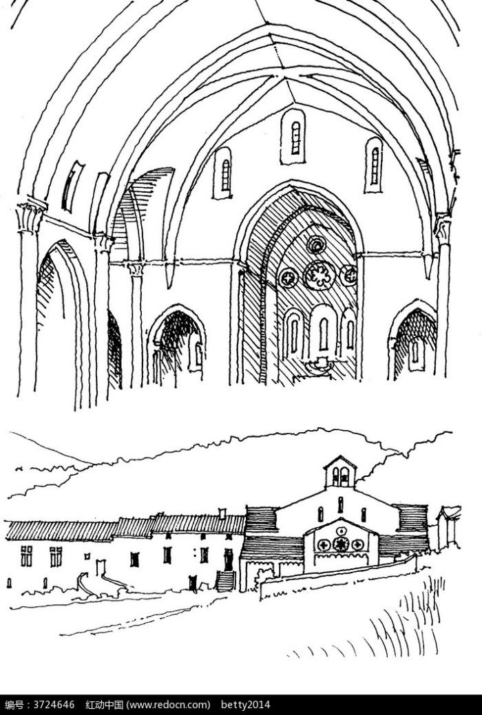 欧式圆顶建筑手绘图片