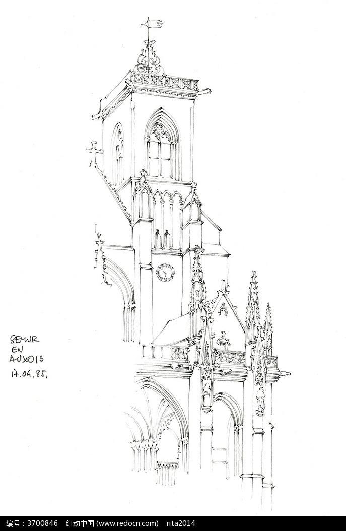 欧式古代城堡建筑手绘图图片