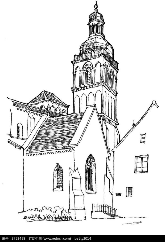 欧式古建筑手绘线描图图片
